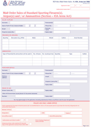 NZP- S43 A- Arms- Act- Mail- Order- Sales- Application- Form-11